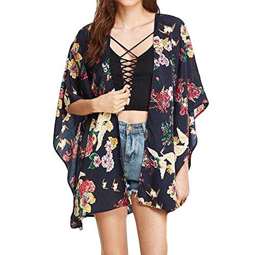 UOKNICE Ladies Beach Flower Print Stripe Cover Up Swimsuit Kimono Cardigan Bohemian Smock ()