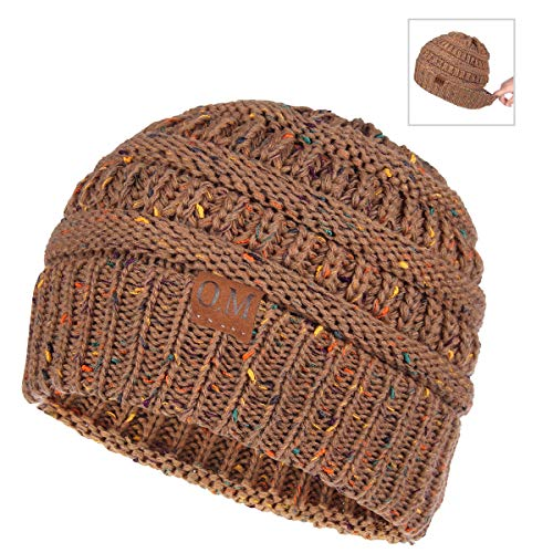 Bodvera Women's Ponytail Messy Bun Cotton Beanie Winter Warm Stretch Cable Hat Thick Knit Skull Cap (Khaki Multicolored)