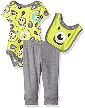 Baby Boys' 3-Piece Monsters Inc. Bodysuit and Bib with Pant Set