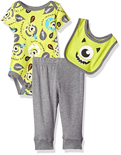 Disney Baby Boys' 3-Piece Monsters Inc. Bodysuit and Bib with Pant Set, Green, 6/9 (Monsters Inc Baby Onesie)
