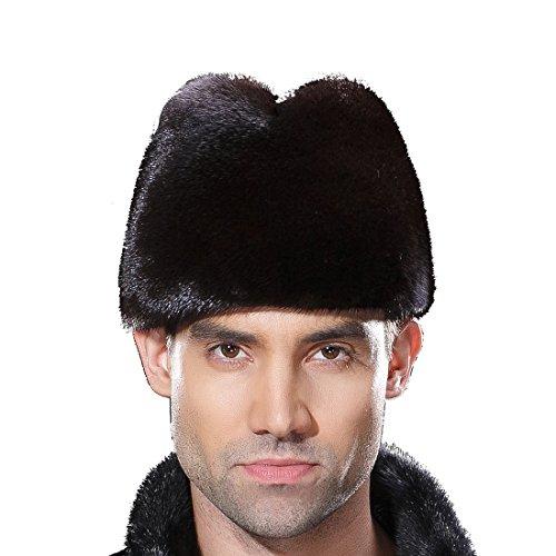 URSFUR Mens Winter Russian Cossack Hat Real Mink Fur Cap by URSFUR