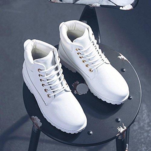 corti pelle stivali solida Bianco stivali Donne in basse casuali artificiale in martin pelle casual bassi stivali scarpe scarpette Longra Scarpe tqvzpxwxa