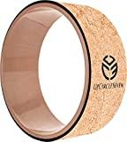 UpCircleSeven Cork Yoga Wheel - Strongest & Most Comfortable Dharma Yoga Prop Wheel, Perfect Platform For Stretching and Improving Backbends, 12 x 5 Inch Basic, Wood