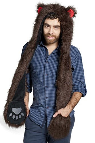 Brown Bear Anime Faux Animal Hood Hoods Mittens Gloves Scarf Spirit Paws Ears for Men (Bear Hood With Paw Scarf)