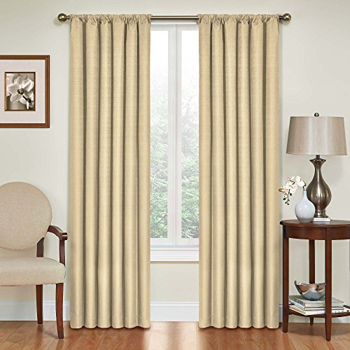 ECLIPSE Blackout Curtains for Bedroom - Kendall Insulated Darkening Single Panel Rod Pocket Window Treatment Living Room, 42' x 63', Café