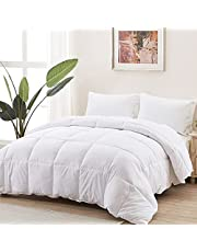 """Accuratex Duvet Insert Queen Down Alternative Comforter - Ultra Soft Microfiber Fill Quilted Hotel Collection Comforter, All Season Duvet Insert with Corner Tabs - Machine Washable,White, 90""""×90"""""""