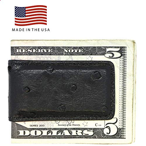 Black Genuine Ostrich Money Clip - Magnetic - American Factory Direct - Strong Shielded Magnets - Money Holder - Money Holder - Made in USA by Real Leather Creations FBA505 - Faux Ostrich Skin
