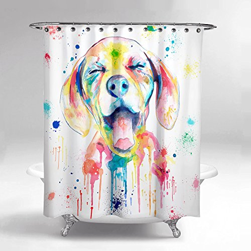 Lume.ly - Colorful Ditzy Puppy Dog Fabric Shower Curtain Set for Bathroom W/ 12 PREMIUM Hooks Rings, Unique Luxury Designer Bright Art (Aqua Yellow White Blue Pink Watercolor) (72x72 in)