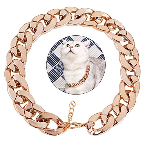 Legendog Dog Neck Chain Pet Chain Collar Fashion Cool Plastic Pet Chain Necklace for Cat Dog (Rose Gold)