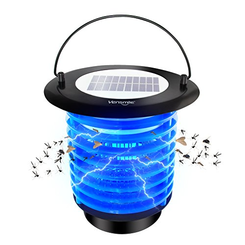 VENSMILE Solar Powered Bug Zapper Mosquito Trap Waterproof Fly Insects Killer with Night Light for Indoor and Outdoor Use