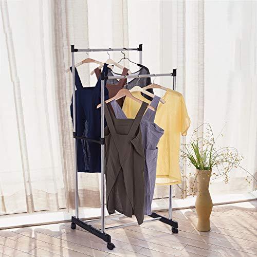 Eoeth Floor-Mounted Coat Rack, Mobile Stainless Steel Double-Bar Adjustable Coat Rack and Garment Drying Rack Entryway Coat Rack Coat Tree Hat Hanger Holder(Shipped by US) Free Post