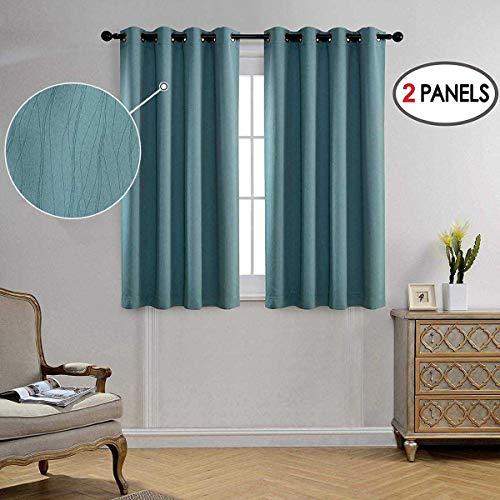 MIUCO Blackout Curtains Room Darkening Curtains Textured Grommet Curtains for Window Treatment 2 Panels 52x63 Inch Long Teal from MIUCO