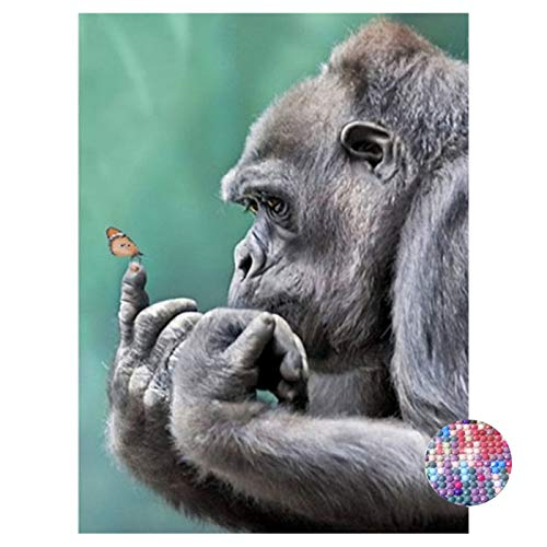 (LIPHISFUN DIY 5D Diamond Painting by Number Kit for Adult, Full Round Resin Beads Drill Diamond Embroidery Dotz Kit Home Wall Decor,30x40cm,Gorilla)