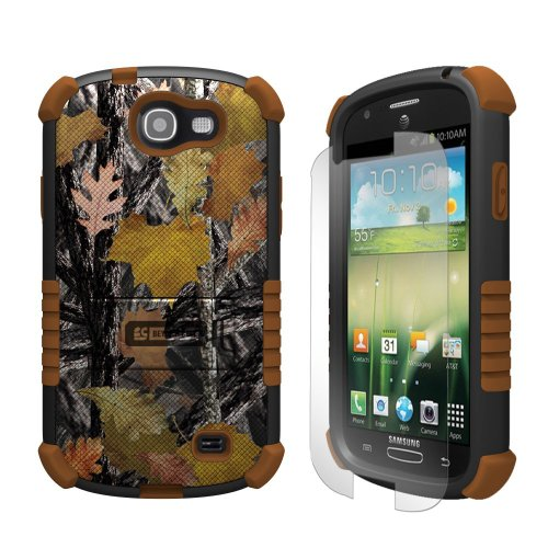Beyond Cell Tri-Shield Durable Hybrid Hard Shell and TPU Gel Case for Samsung Galaxy Express i437 - Retail Packaging - Black/Brown/Hunter