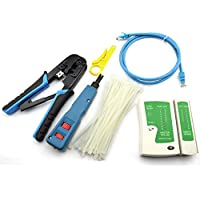 Maxmoral Network Tool Kit - Network Wire Impact Punch Down Tool, Cable Connectors Crimper Tool, Network Cable Tester Detector ,Network Wire Stripper,Cat6 RJ45 Ethernet Patch Cables,Nylon Cable Ties