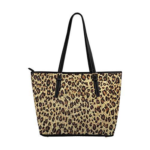 InterestPrint Beautiful Tiger Fur Colorful Wild Animal Print Women's Leather Handbags Ladies Shoulder Bag Tote Bags