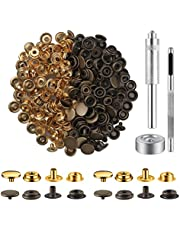 200 Pieces (50Sets) Snap Fastener Kit Tool 5/8 inches (15mm) Snaps for Leather Stainless Snap Buttons Fasteners Tool (Hole Punch and Setting Tools) for Bag, Jeans, Clothes, Fabric