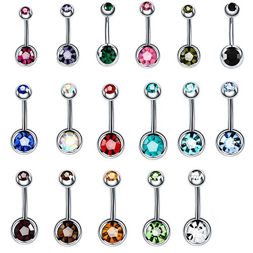 (BeautyTime 17pcs Assorted Colors Belly Button Ring Titanium Surgical Steel Hypoallergenic Lead and Nickel Free,14g Navel Piercing Czech Diamond Body Jewelry)