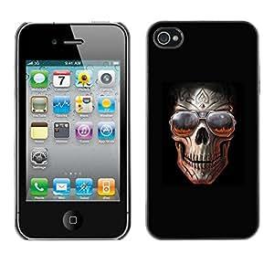 Carcasa Funda Prima Delgada SLIM Casa Case Bandera Cover Shell para Apple Iphone 4 / 4S / Business Style Skull Teal Purple Black Floral Crossbones