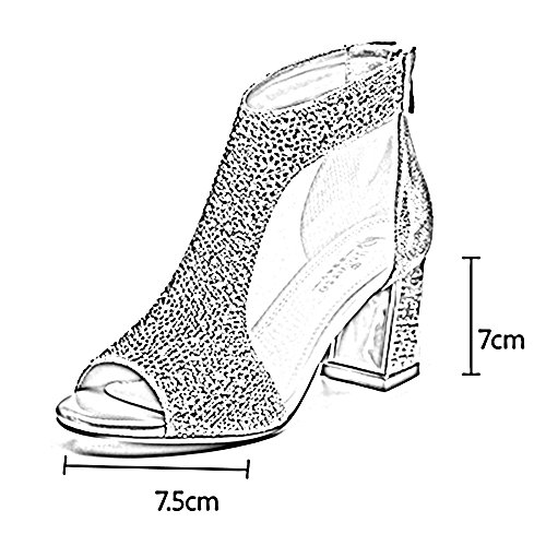 Silver Toe Fish Yarn Heel Silver 5 Women's Open High EU37 Size Roman ZHIRONG Shoes 7CM Shoes Rhinestone 5 Coarse High Heels Sandals Heels Mouth UK4 Color Net Elegant Fashion Summer CN37 gpAPzw
