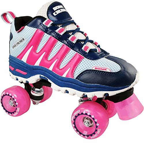 Pacer Roller Skates for Women and Men, Girls and Boys/Adults and Kids | Sonic Cruiser Unisex Mens and Womens Rollerskates for Ladies - Skates for an Adult or Kid - Indoor/Outdoor (Pink Kids 4)