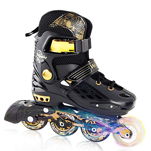 Line In Aggressive Mens Skate (YF YOUFU Adjustable Inline Skates, Rollerblades Adult, Roller Skate for Boys/Girls, Triple Protection, Front Foot Shield, Hard and Strong PU Wheels, Light-up Wheel on Front for Kids & Youth)