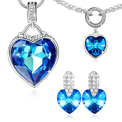 SYLVICA Women Jewelry Sets, Love Heart Pendant Necklace Bracelet Earrings Fashion Jewelry Set Made with Swarovski Crystals, Ideal Birthday for Girlfriend, Lover (Titanic Heart Of The Ocean Necklace For Sale)