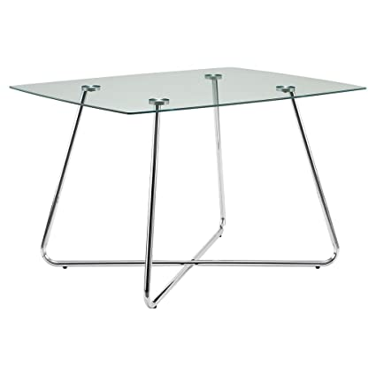 Monarch Specialties I 1070, Dining Table Chrome Metal Tempered 40u0026quot; ...