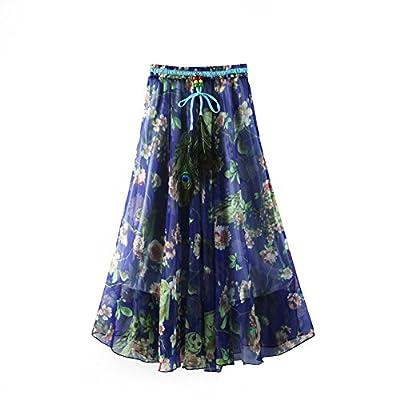 ZAMME Women's Girl Pleated Chiffon Beach Long Skirt Casual Floral Skirt at Women's Clothing store