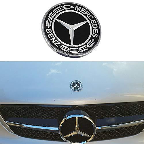 Cardiytools Metal Flat Hood Star Emblem Badge for Mercedes Benz C E SL Class Ornament logo (Black)