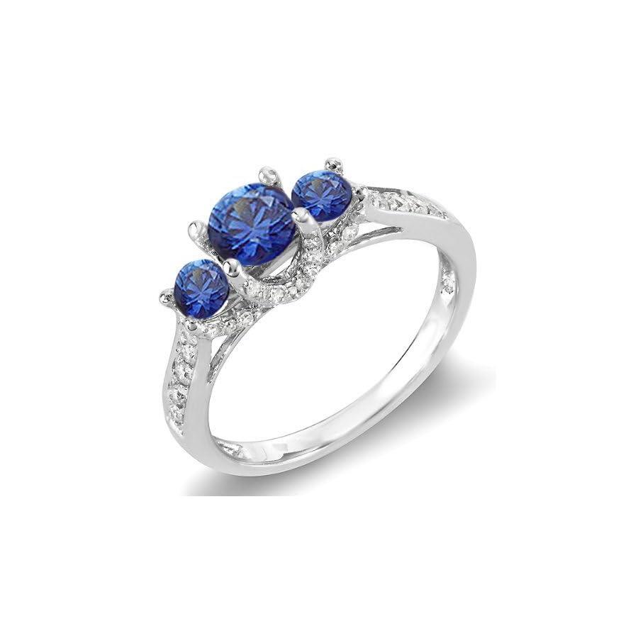 18K White Gold Round White Diamond And Blue Sapphire 3 Stone Ladies Bridal Engagement Ring