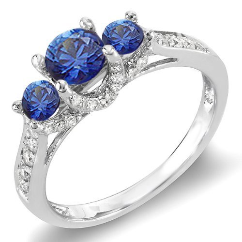 18K White Gold Round White Diamond And Blue Sapphire 3 Stone Ladies Bridal Engagement Ring