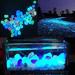 Glow in the Dark Pebble Stone For Fish Tank Aquarium Decorations, Luminous Stone, Fantastic Garden or Yard Mixed Color, Assorted 60 Pcs by LesyPet