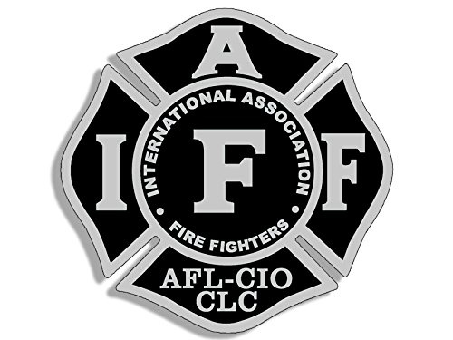American Vinyl Black & Gray Maltese Shaped IAFF AFL CIO Sticker (fire Firefighter Logo)