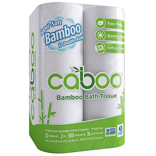 (Caboo Tree-Free Bamboo Toilet Paper, Septic Safe Biodegradable Bath Tissue, Eco Friendly Soft 2 Ply Sheets, 300 Sheets Per Roll, 12 Double)
