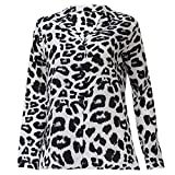 Biniwa Womens Spring Plus Size Long Sleeve Chiffon Blouse, Deep V-Neck Lapel Collar Shirt, Button Up Vintage Leopard Printed Casual Loose Tops S-2XL (L, White)