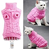 Bolbove Bro'Bear Cable Knit Turtleneck Sweater for Small Dogs & Cats Knitwear (Pink, Medium)