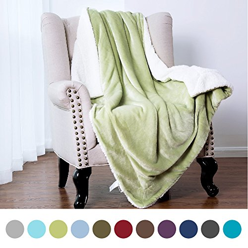 Sherpa Throw Blanket Sage Green Twin size 60x80 Bedding Flee