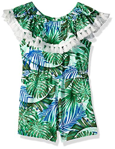 One Step Up Girls' Toddler Soft Knit Romper, Kelly Tropical, 2T