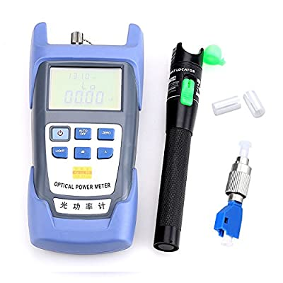 Fiber Optical Power Meter with 20mW 20KM Aluminum Visual Fault Locator and FC-LC Adapter Fiber Optic Cable Tester Checker Test Tool for CATV Telecommunications Engineering Maintenance