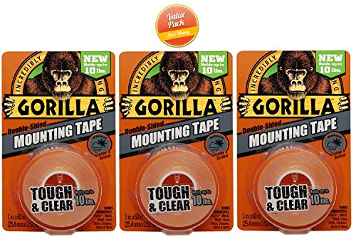 Gorilla 6065001 Mounting Tape Clear, 3 PACK