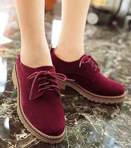 IDIFU Women's Classic Low Chunky Heel Platform Low Top Lace up Oxfords Shoes Wine Red 6 B(M) US by IDIFU (Image #3)