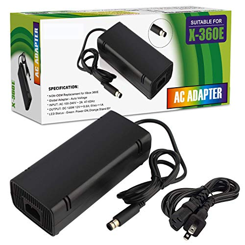 Xbox 360 E Power Supply, Power Supply Cord AC Adapter Replacement Charger for Xbox 360 E, 100-240V Auto Voltage, Black