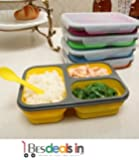 BEST DEALS - Collapsible Lunch Box, 3 Compartment, Bento BPA Free-Silicon, Microwave/ Dishwasher Safe