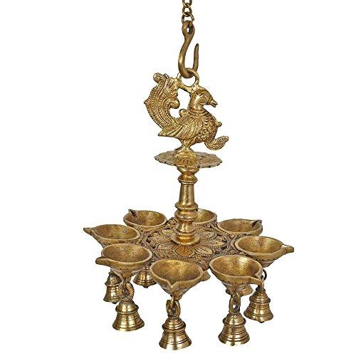 - Indian Lamp Set Diwali Lights Hanging Bells Peacock Sculpture Art Metal Brass