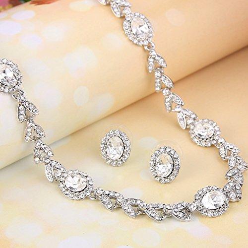 EVER FAITH® Ton Argent Feuille Ovale Cristal Autrichien Mariage Noces Parures Bijoux Transparent
