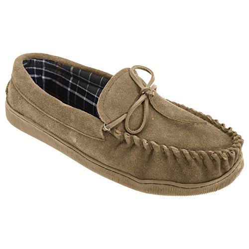 Pantofole Da Uomo In Camoscio E Camoscio In Vera Pelle Scamosciata
