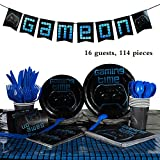 Gaosaili Video Gaming Party Supplies Tableware Set for Boys Birthday Decorations,Include Plates, Banner,Cups,Napkins,Table Cover,Forks Spoons Knives