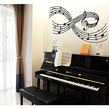 Olivia Large Music Notes Wall Decals DIY Removable Scale Tabs Stickers Rhythm Staff Graphic Design