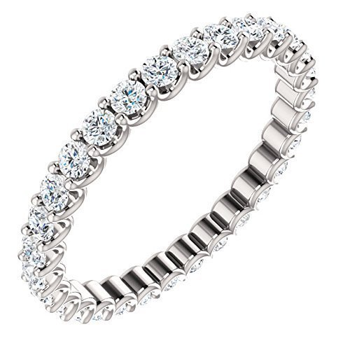 14k Shared Prong - Shared Prong White Diamond Eternity Band In 14K Gold 9/10 CTW